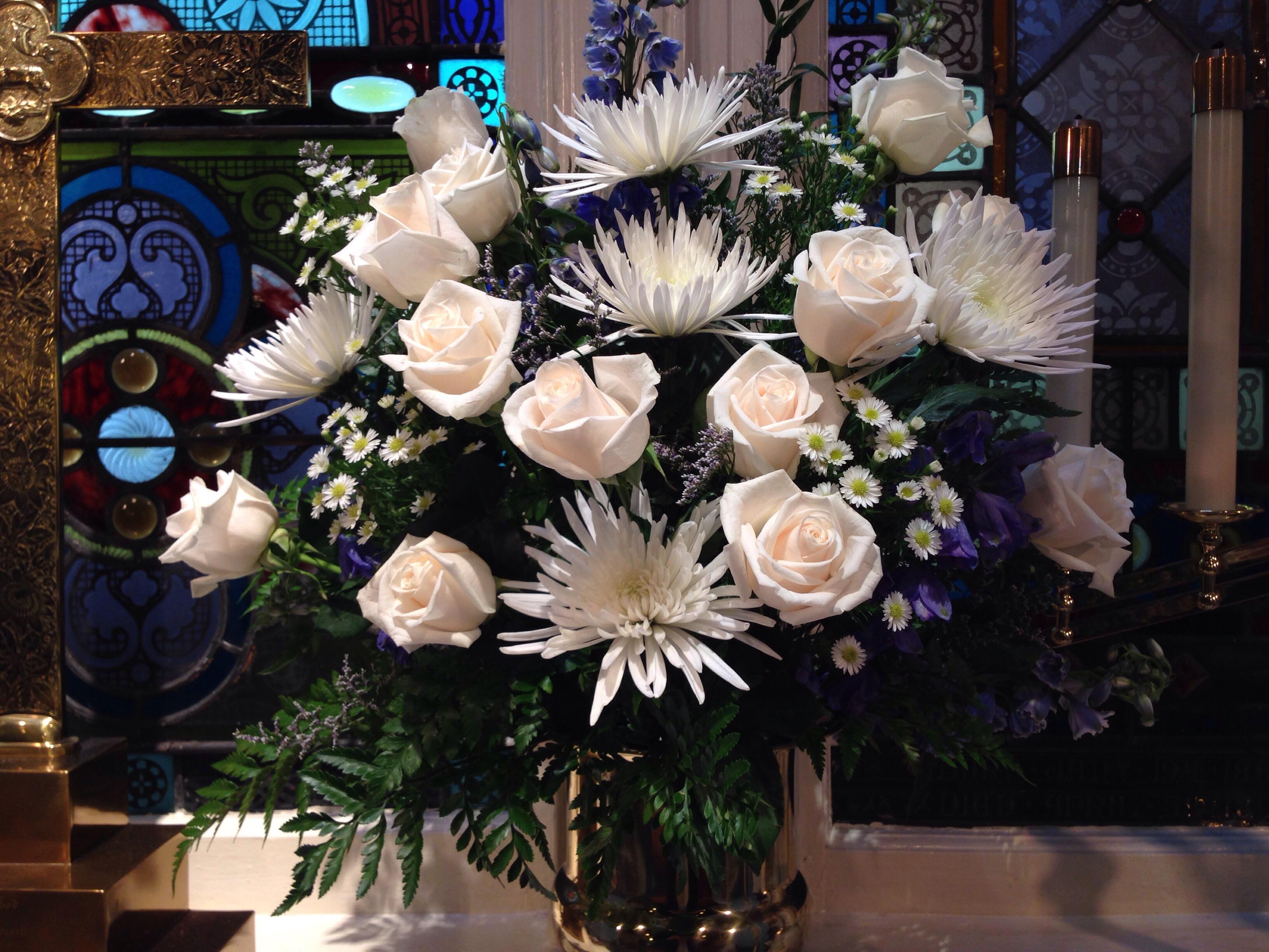 White altar flowers