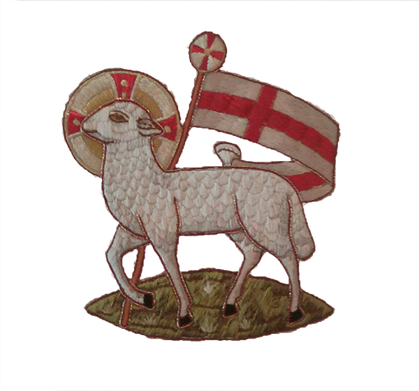 picture of Lamb with cross banner